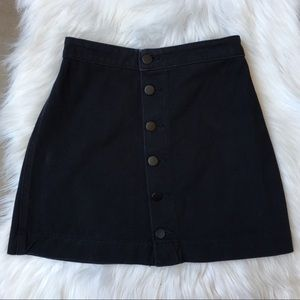 American Apparel Button Front Black Denim Skirt XS